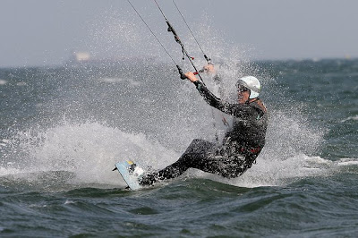 Peter Campbell kitesurfing at Brighton.  Photo:  Ian Currie