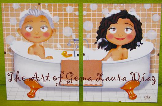 The art of gema laura d az cuadros ba o beige para marian - Cuadros para banos online ...