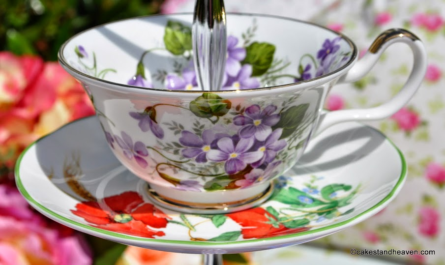 violets and red poppies teacup and saucer