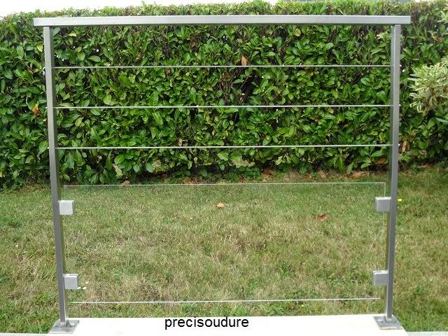 Garde corps inox avec verre et cables