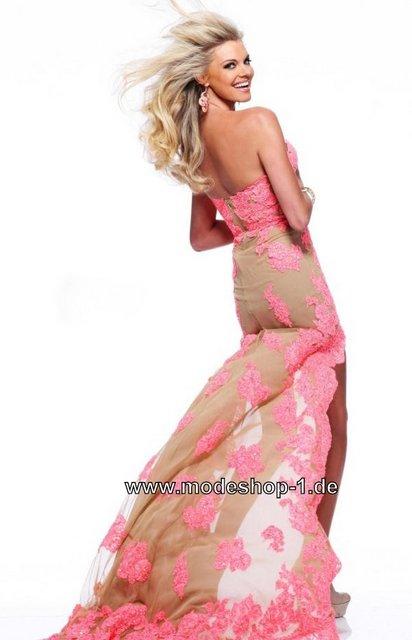 Kleid vorne kurz hinten lang blau beige glitzer abiball vokuhila kleid ...