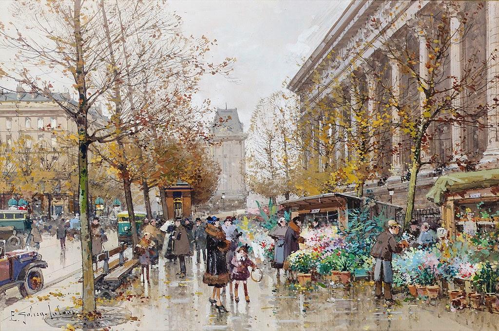 Eugène Galien-Laloue - Paris Le marché aux fleurs