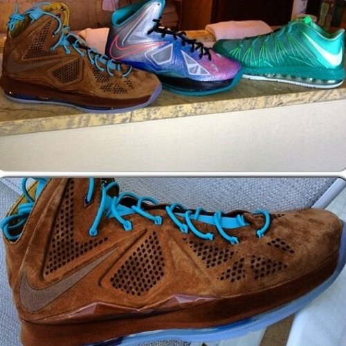 7395e2fe13fc New LeBron X Styles  Brown Suede EXT   Pure Platinum
