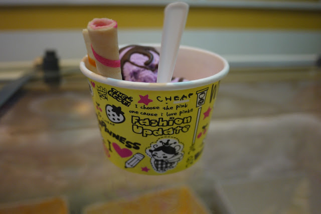 "cup of taro ice cream with the writing ""I choose the pink one cause I love pink!! Fashion Update"""