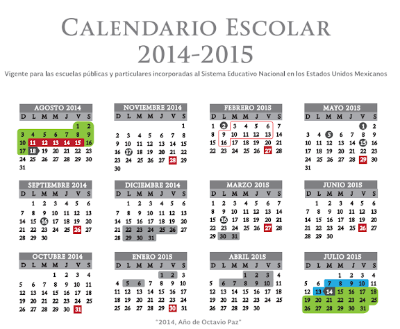 Calendario SEP Ciclo escolar 2014-