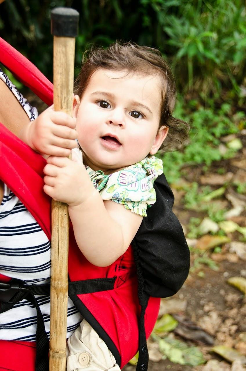 Amara holding onto a walking stick