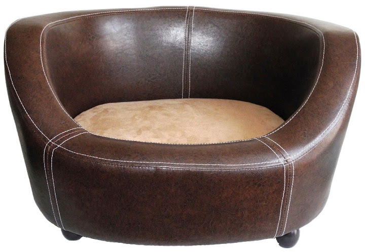 Plush Pet Bed Leather Raised Bradgate Dog Bed Walnut Brown Chelsea Dogs