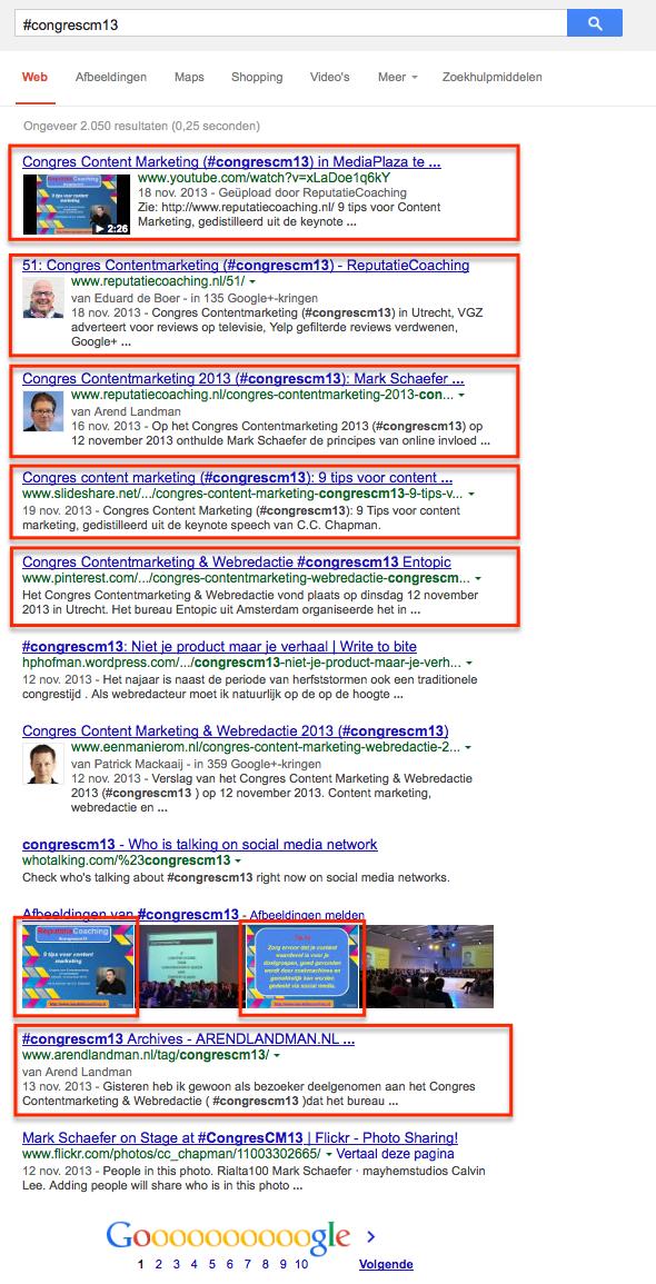 #congrescm13 in de zoekresultaten