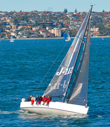 J/111 one-design offshore racing sailboat- sailing off Sydney, Australia- the ultimate offshore sailing boat