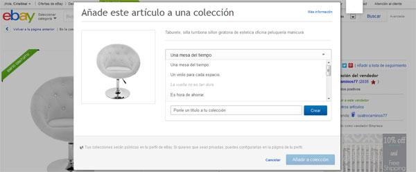 Crear colecciones eBay