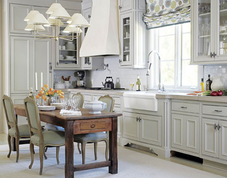 Another One Thatu0027s Been Around The Block, But Too Pretty To Not Include!  Love The Pale Gray White Cabinetryu2026..beautiful And Fresh, Gorgeous Antique  Table Is ...