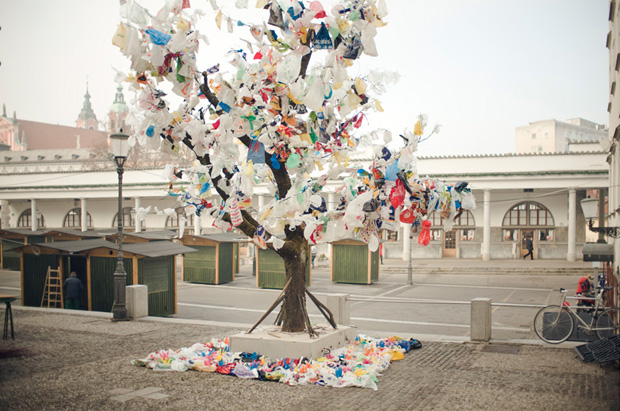 Recycled Plastic Bag Installation by The Miha Artnak