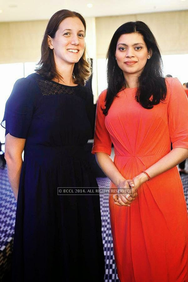 Caroline Newbury and Meru Gokhale during the book launch by James Patterson and Ashwin Sanghi, held at the Rooftop, Oberoi Trident, in Mumbai.
