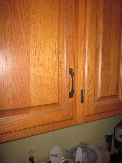 Knobs For Oak Kitchen Cabinets ~ Stainless satin nickel pulls on honey oak