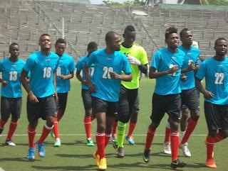 Les Léopards U23 lors de l'entraînement lundi 16 février au stade Tata Raphaël de Kinshasa. Radio Okapi/ Ph. Nana Mbala