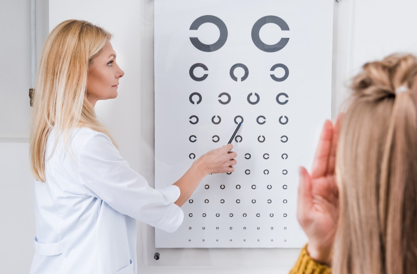 Middle aged female doctor points at an eye chart while female patient covers one eye and gazes at the chart in front of her