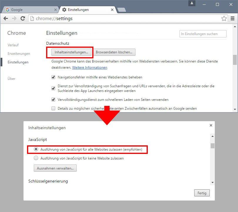 In Chrome aktiviert ihr Javascript in den erweiterten Einstellungen.