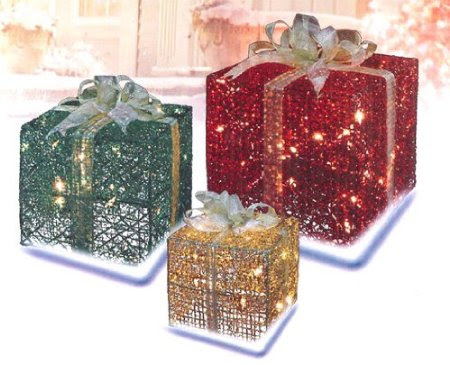 3-Piece Glittery Red, Green & Gold Gift Box Lighted Christmas Yard Art Set