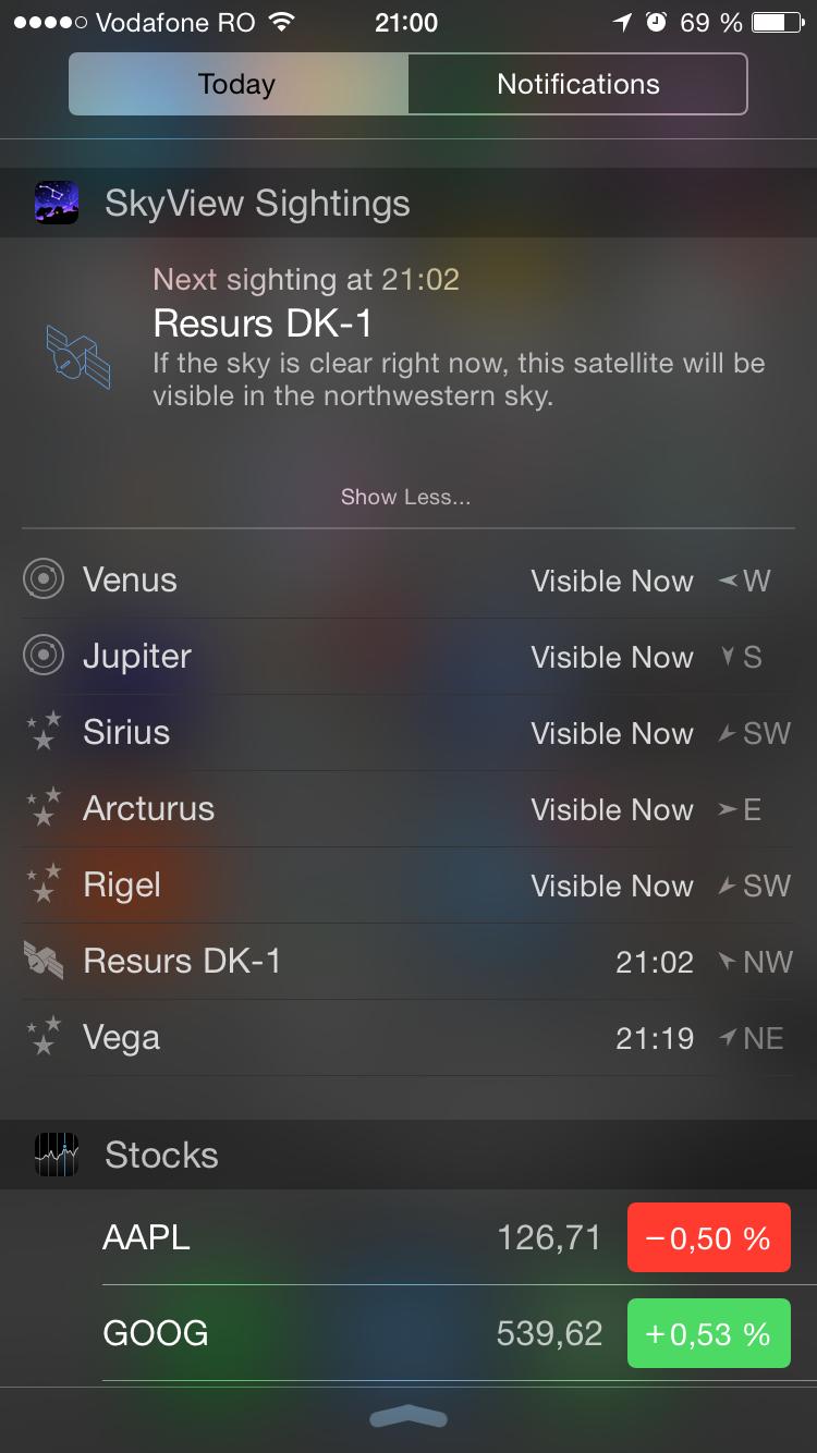 iOS 8: SkyView sightings widget