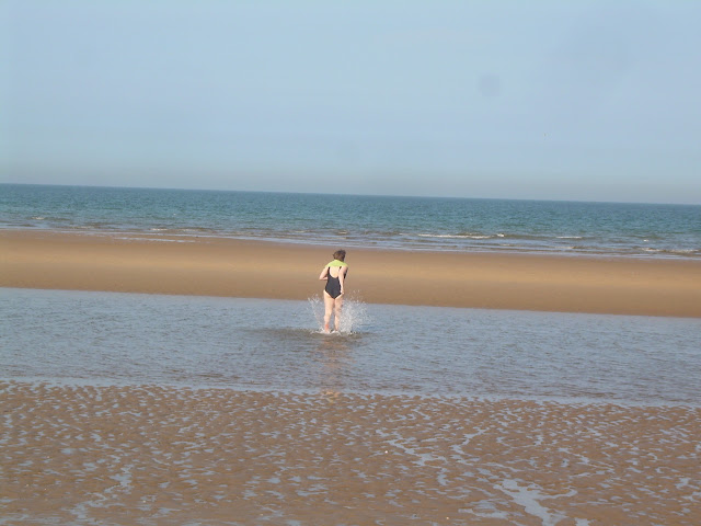 Jo going for a dip in the Wash