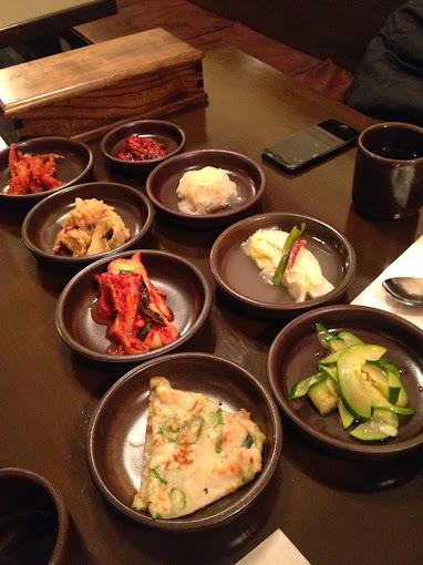 Side dishes at Moo Kyo Dong Nak Ji