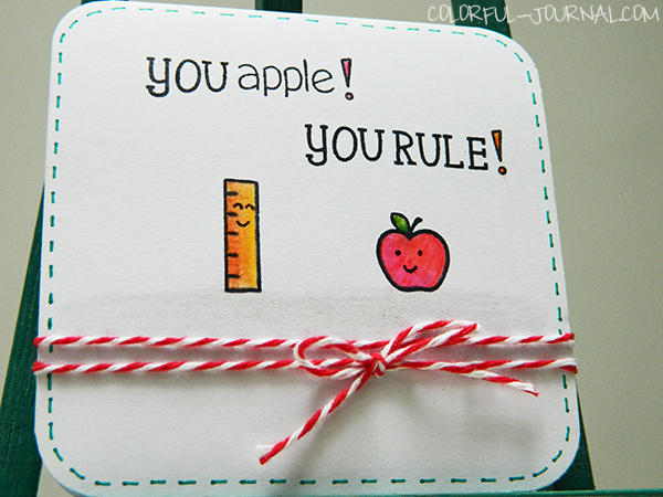 back to school card lawn fawn a good apple stamp set red twine CAS clean and simple