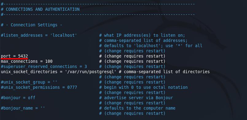 Install OpenVAS on Kali Linux - PostgreSQL port configuration. Source: nudesystems.com