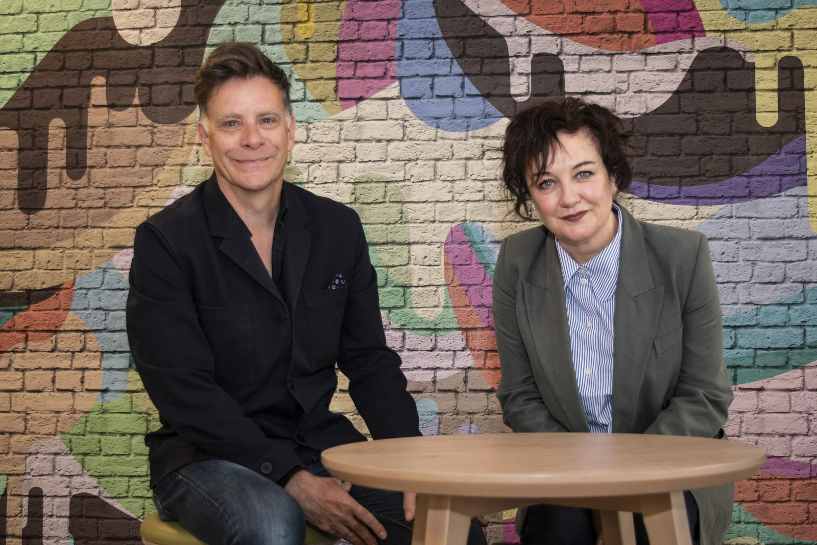Lorraine MacIntosh and Ricky Ross from Deacon Blue inside the Access Hub
