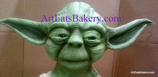 Star Wars Yoda Groom's cake closeup of his head and face