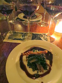 Serratto Bloggers Dinner, Muscovy Duck Confit with black lentils, parsnip cream, pancetta, juniper demi-glace