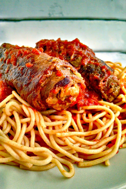 I've taken it to the weeknight level in this Skillet Braciole using thinly slice Milenesa style beef and my roasted tomato sauce.