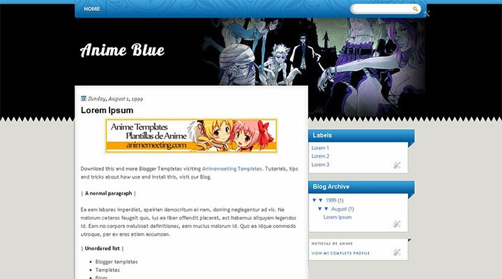 Anime Blue Plantilla Anime Blogger Templates