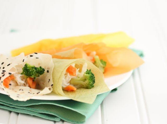 photo of three Noodle Salad Handrolls on a plate