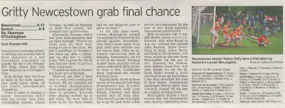 Match report from yesterday's Irish Examiner written by Threse O'Callaghan