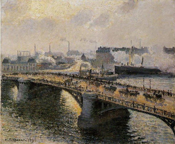 Camille Pissarro - The Boieldieu Bridge at Rouen, Setting Sun, Foggy Weather
