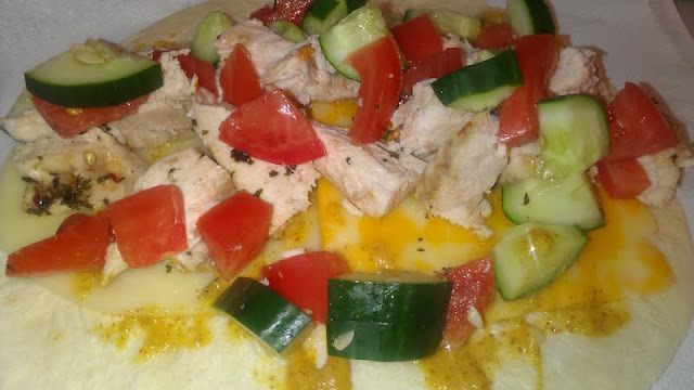 chicken tomato cucumber tortilla cheese honey dijon healthy chicken wrap