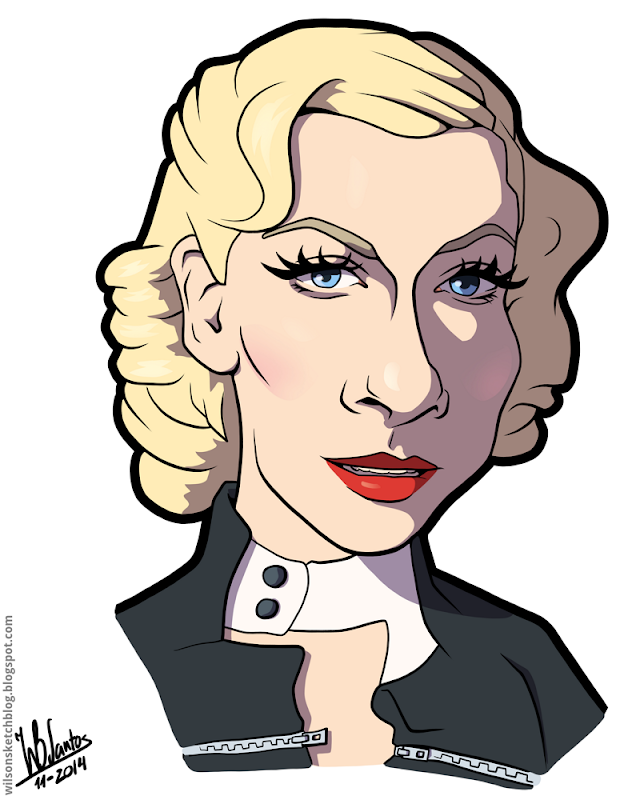Cartoon caricature of Christina Aguilera.