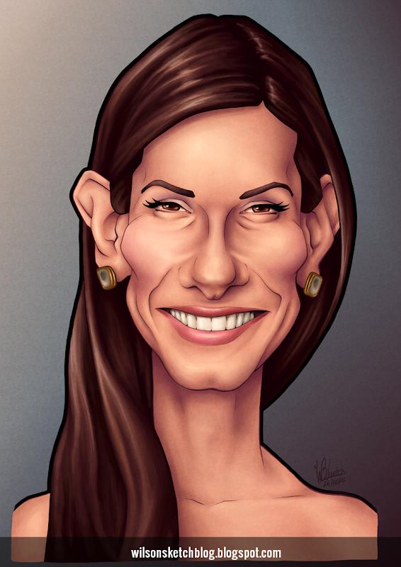 Caricature of Sandra Bullock.