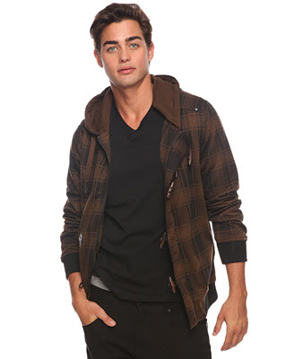 Mens Hooded Jacket L Check Jumper Cardigan Knit Plaid ...