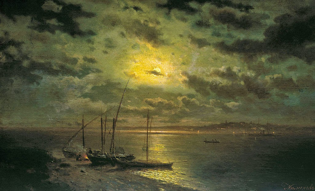 Lev Kamenev - Moonlit Night on the River.