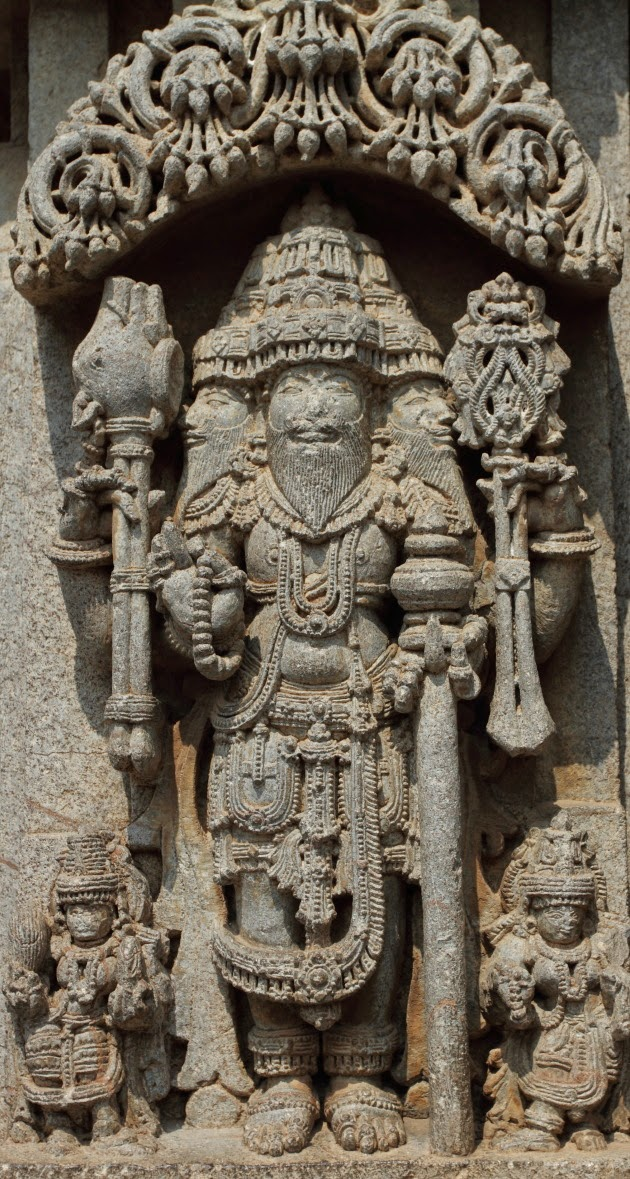 Statue of Brahma and his wives at the Somnathpur Keshava Temple
