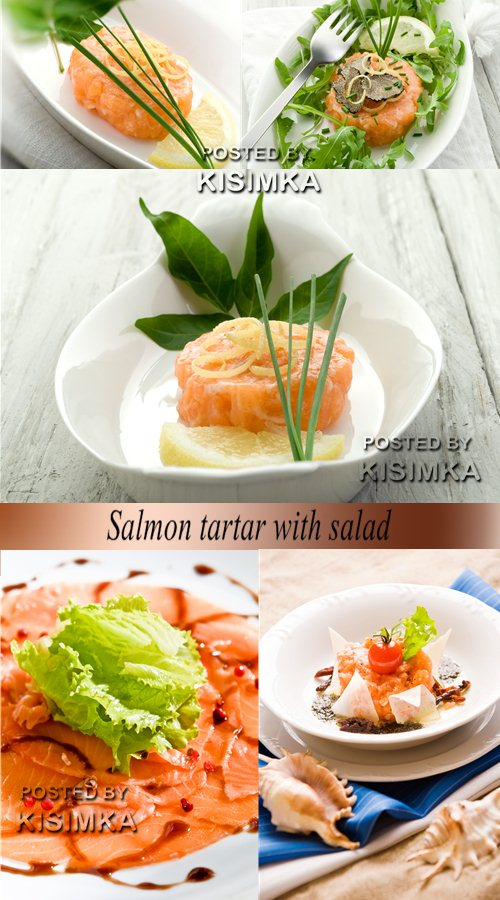 Stock Photo: Salmon tartar with salad