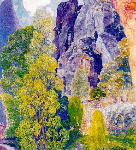 Hermen Anglada-Camarasa - Árboles junto al monasterio de Montserrat
