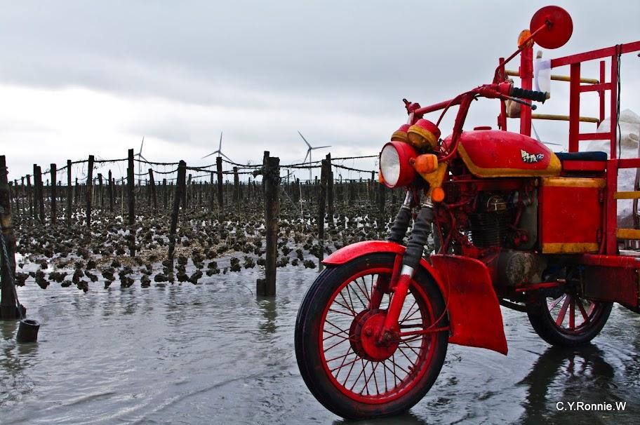 魅力王功漁港-海中央很濕的拍