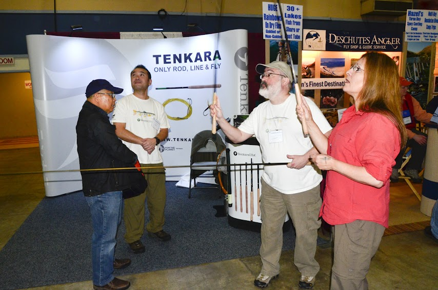 Tenkara casting demo at Plesanton Show photo by Mike Sevon