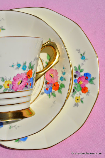 Cream Colour Art Deco Floral China Trio c.1936