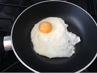 Fried egg in small pan