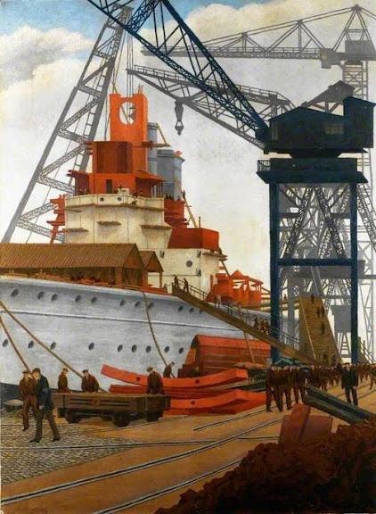 Charles Ginner - Building a Battleship