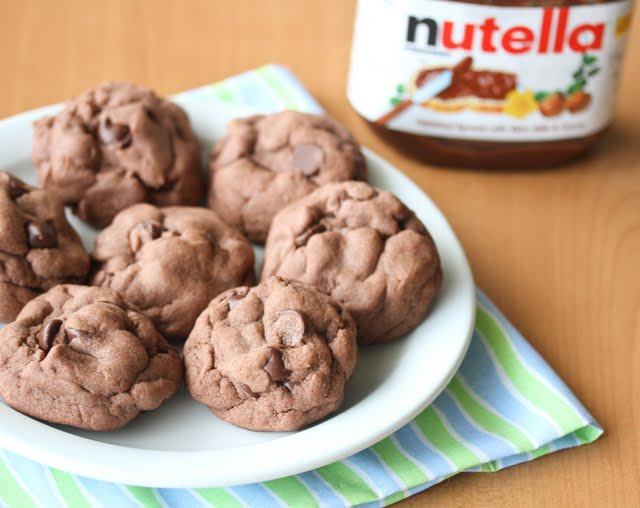 photo of a plate of Soft Nutella Chocolate Cookies