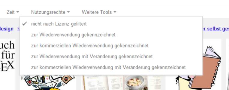 Google Bildersuche Filter nach Nutzungsrechten